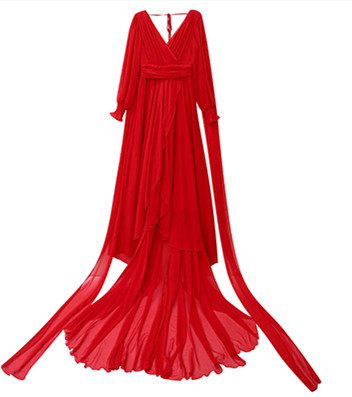 Luxury Red & White Chiffon Long Dress For Elegant Lady Gorgeous V-Neck Lanter Sleeve Floor Length Bohimian Beach Dresses Vestido 8