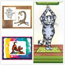 Wyczyść znaczki kot i pies żyrafa robi sport dla DIY scrapbookingu kart Making Craft 2020 nowe silikonowe stemple tanie tanio Clear Stamps For DIY Scrapbooking Pieczątka standardowa Silicone dekoracja from dog Garfield stamps