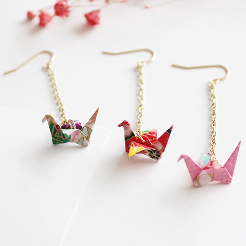 5 Styles Of Chinese Traditional Origami Qianzhihe Pendant Earrings New Design Style Cute And Sweet Fairy Crane Earrings Jewelry
