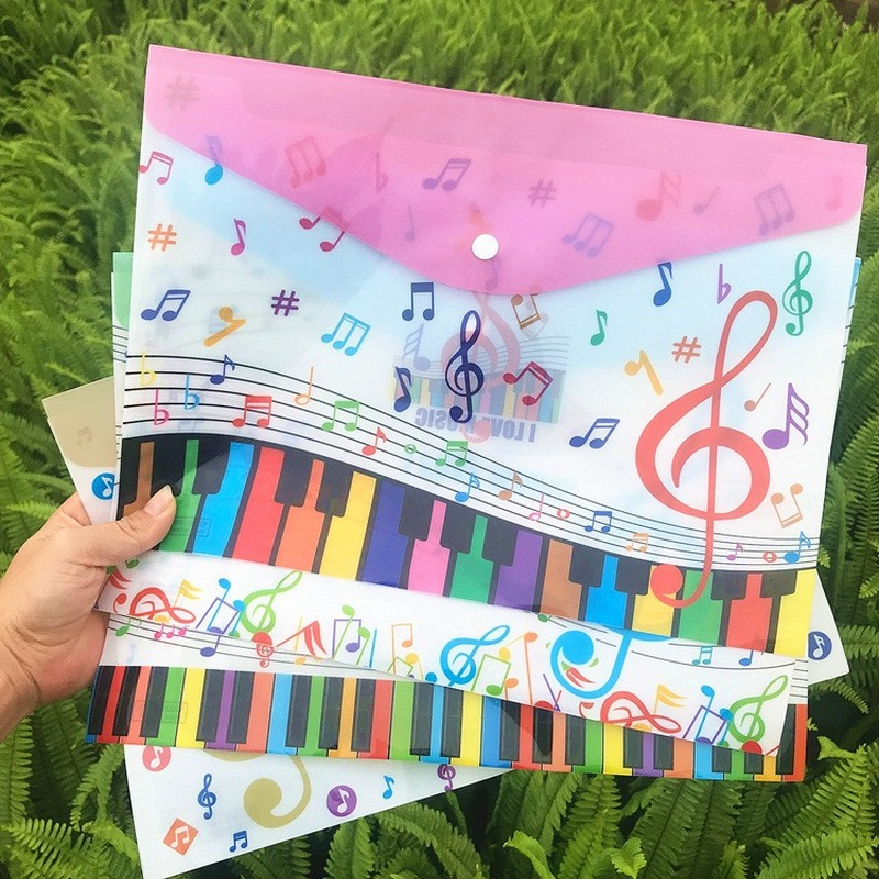 Music Theme Piano Shaping Filing Bag A4 Examination PVC File Holder Lovely Archive Student Document Buckle Bag Office Stationery