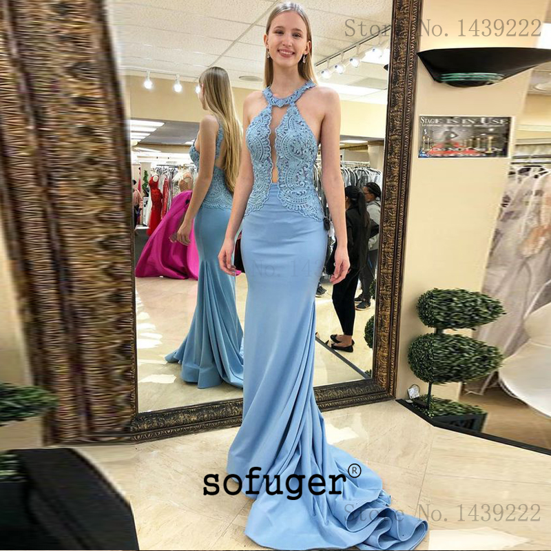 Blue Halter Girl Satin Mermaid Evening Dresses Prom Sexy Backless Long Arabic Special Occasion Robe De Soiree Plus