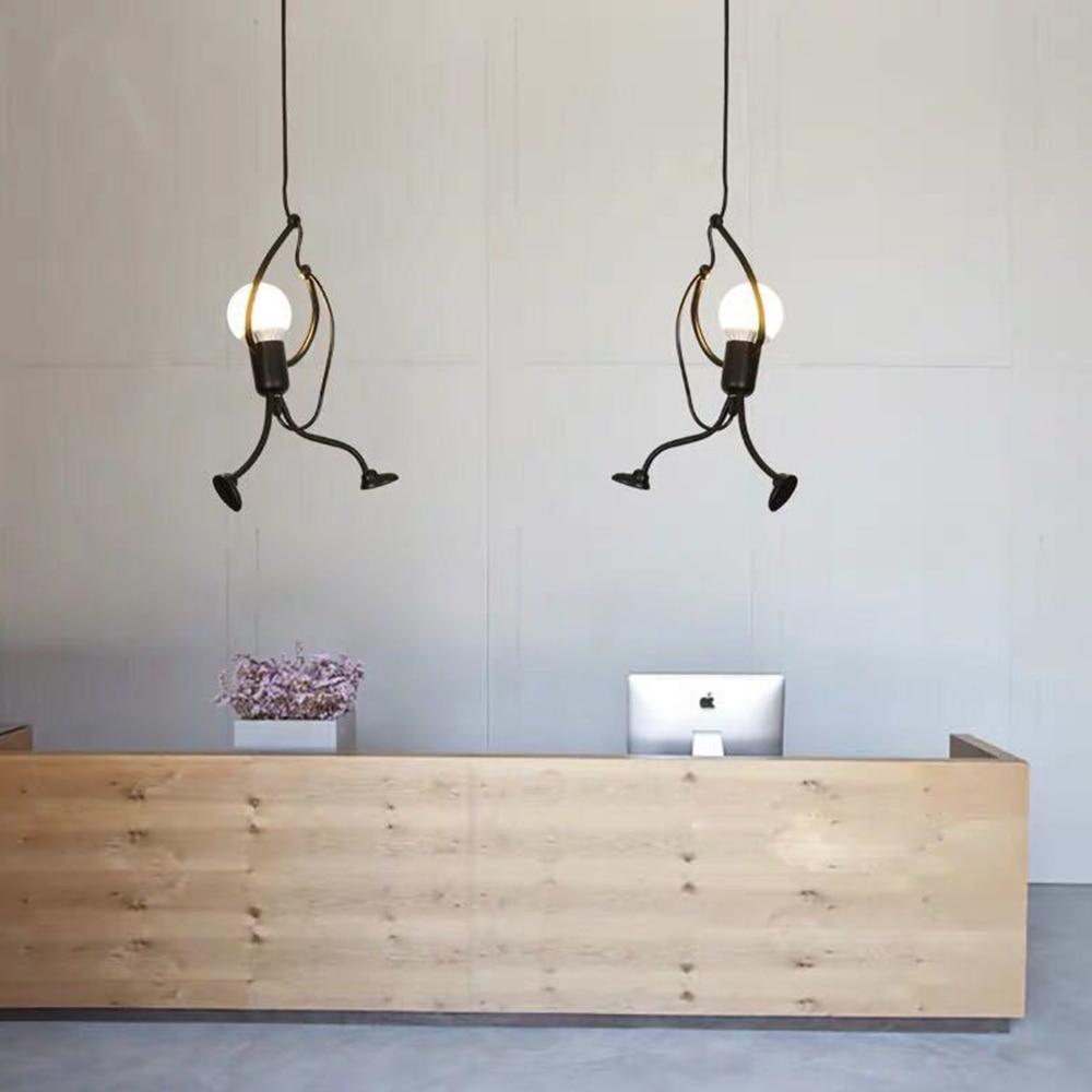 Modern LED Charming Hanging Chandelier Creative Iron People Lamp Elegant Hanger Luminaire Adjustable Height 220-240V