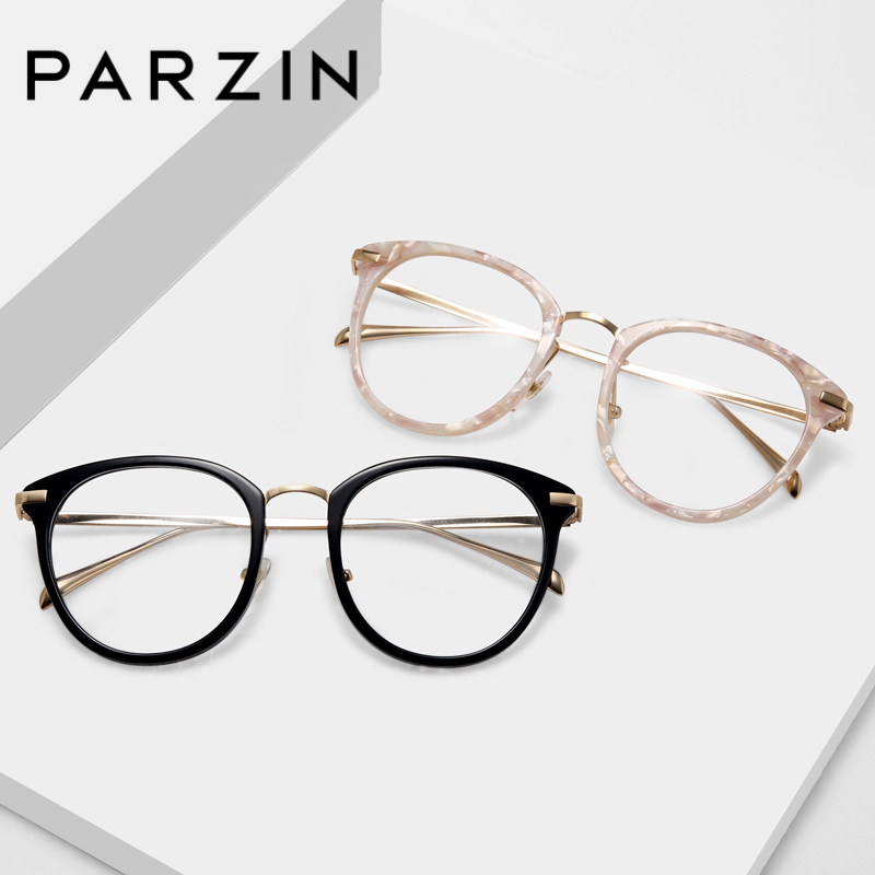 PARZIN Eyeglasses Frame Women Trendy Round Glasses Frame With Clear Lens Plate and Titanium Big Optics Myopia men Accessories image
