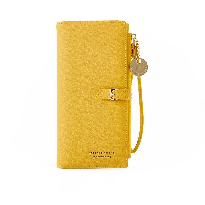Длинный женский кошелек с ремешком на запястье, дамские бумажники с несколькими отделениями, клатч на молнии, кредитница с кармашком для те...
