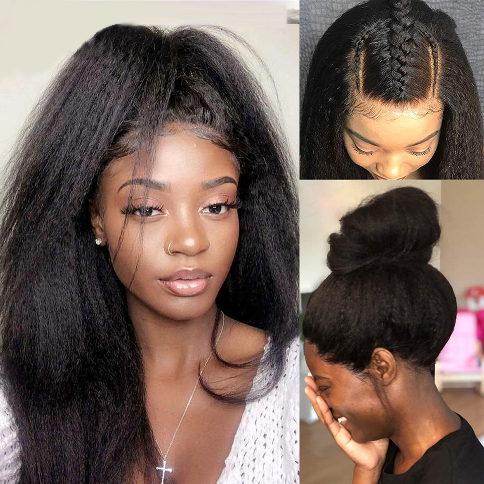 LS Hair 360 Lace Front Wigs Peruvian Kinky Straight Lace Front Human Hair Wigs For Black Women 13*4 Lace Frontal Wigs Remy Hair