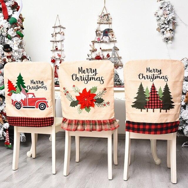 Фото 1 шт льняная рождественская крышка стула для обеденного рождественского цена