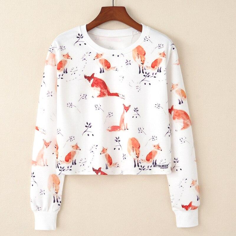 Spring Autumn New European Fox And Branches Print T-shirts Women Casual Long Sleeve Short Shirts Femme Fashion Basic Clothing