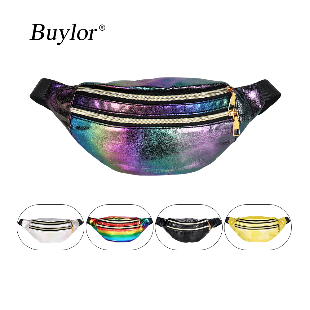 Buylor Women Bum Bag Laser Belt Bag  Holographic Fanny Pack  Designer Waist Bag Cute Waist Packs Phone Pouch For Party, Travel