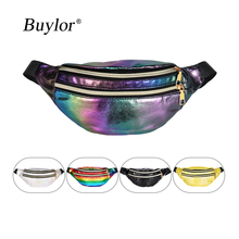 Buylor Women Bum Bag Laser Belt Bag  Holographic Fanny Pack  Designer Waist bag Cute Waist Packs Phone Pouch for Party, Travel sansarya belt bag boho bohemian vintage fanny pack for women cute festival hippie ladies waist bag tribal aztec girls bum bag