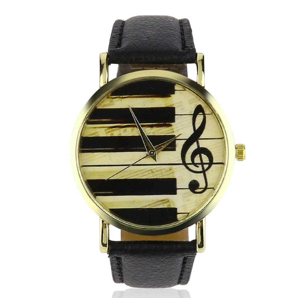 Fahion PU Leather Watches Piano Musical Notation Casual Quartz Wrist Watches Retro Women And Men Clock Wristwatch JYL