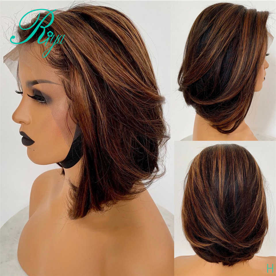 13X6 150% Honey Blonde Ombre Color 30 Short Straight Bob Cut Blunt Pixie  Lace Front Human Hair Wigs For Black Women Indian Remy