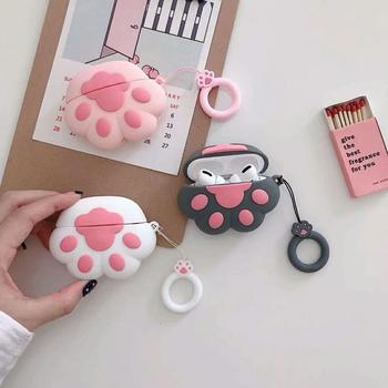Cat paw Cass  For airpods Pro Cover With Ring Straps Bluetooth Headset Protect shell Headphone Cover 3D Silicone Soft Shell
