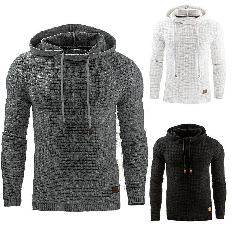 Hooded Sweatshirts Men Long-sleeved Plaid Jacquard Weaving Mens Hoodie Comfortable Soft Leisure Coat Trendy Sports Daily Hoodies