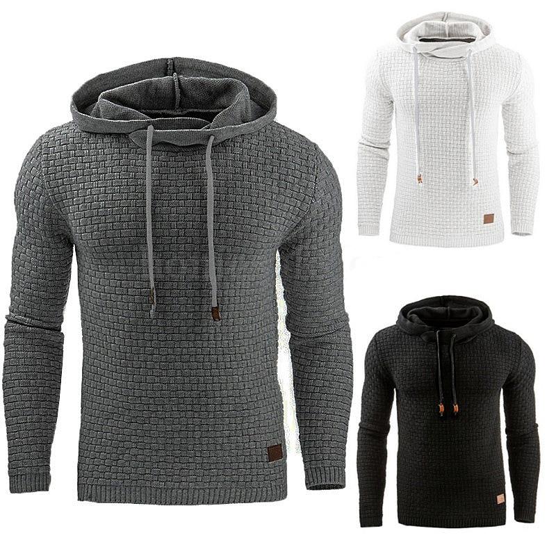 Hooded Sweatshirts Men Long-sleeved Plaid Jacquard Weaving Mens Hoodie Comfortable Soft Leisure Coat Trendy Sports Daily Hoodies