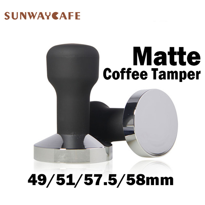 49/51/57.5/58mm Coffee Tamper Matte Rubber Handle 304 Stainless Steel Coffee Powder Hammer Espresso Cafe Tools Barista
