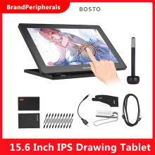 BOSTO 16HD 15.6 Inch IPS Graphic Drawing Tablet Display Monitor 8192 Pressure Level with Rechargeable Stylus Pen 16GB USB Disk