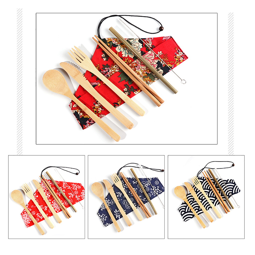Portable Spoon Set With High Quality Bamboo Chopsticks And Straw For Travel And Party Use