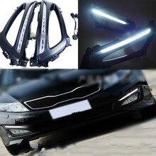 цена на Car 1 Set Car LED For Kia Optima K5 2011 2012 2013 2014 DRL Daytime Running Light Daylight With Yellow Turn Signal