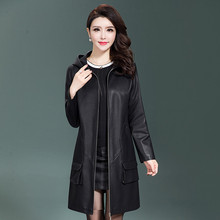 Jacket Trench-Coats Zipper Plus-Size Women Ladies Outerwear New Hooded Shearling Washed