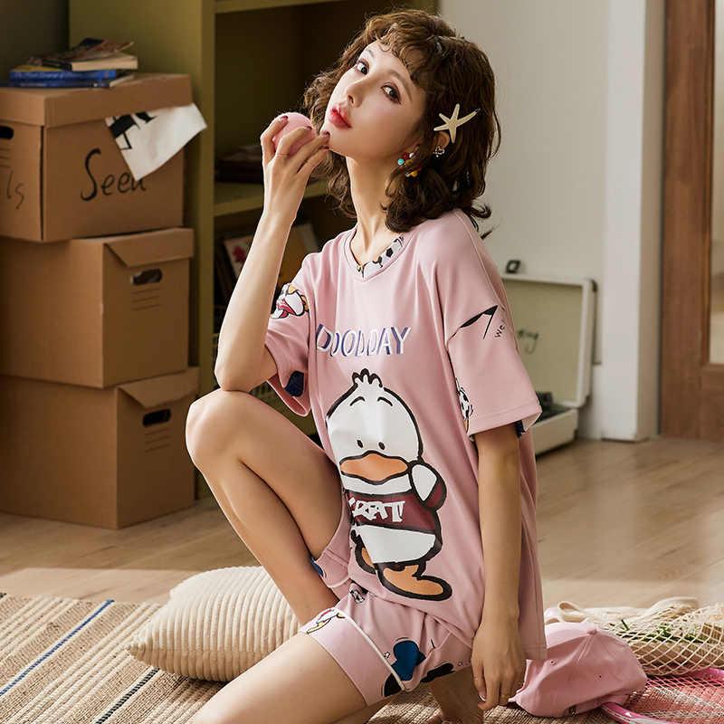 BZEL Bella Rosa Set di Indumenti Da Notte Per Le Donne 100% Pigiama di Cotone del Vestito Rotondo Collo casual Casa di Usura 2PCS Primavera Estate pigiama Pigiama
