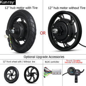 12inch BLDC Scooter Hub Motor Wheel 48V 500W Brushless Non-Gear Hub Motor 36V 350W E Bike Motor Wheel For Electric Scooter Ebike(China)