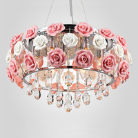 Flower rose chandelier Dining room Living room Kids room Girl room princess chandelier lamp Pink Lampshade wedding chandelier