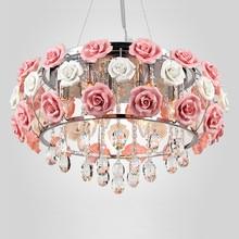 Flower rose chandelier Dining room Living Kids Girl princess lamp Pink Lampshade wedding