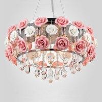 Flower rose chandelier Dining room Living room Kids room Girl room princess chandelier lamp Pink Lampshade wedding chandelier