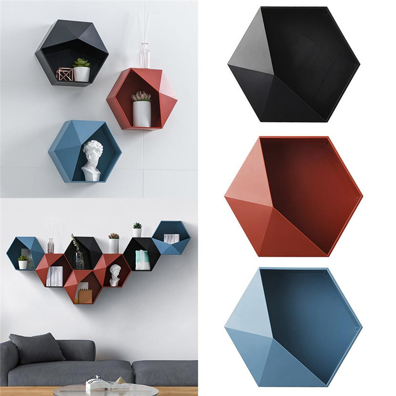 Nordic Hexagon Shelf Wall Hanging Rack Honeycomb Bathroom Living Room Shelves for Wall Home Decor Geometric Organizer Box|Decorative Shelves| |  - title=