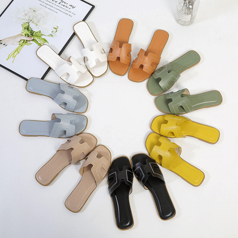 Elegant Slippers Solid Leather Women Sandal Open Toe Flat Casual Slides Summer Outdoor Beach Female Flip Flops Big Size 40