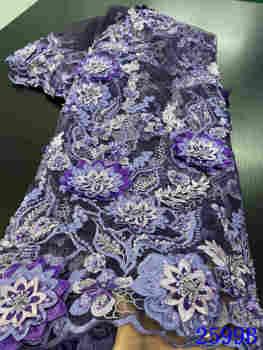 Latest African Lace Fabric 2020 High Quality French Handmade Nigerian Fabrics For Wedding Dress YA2599B