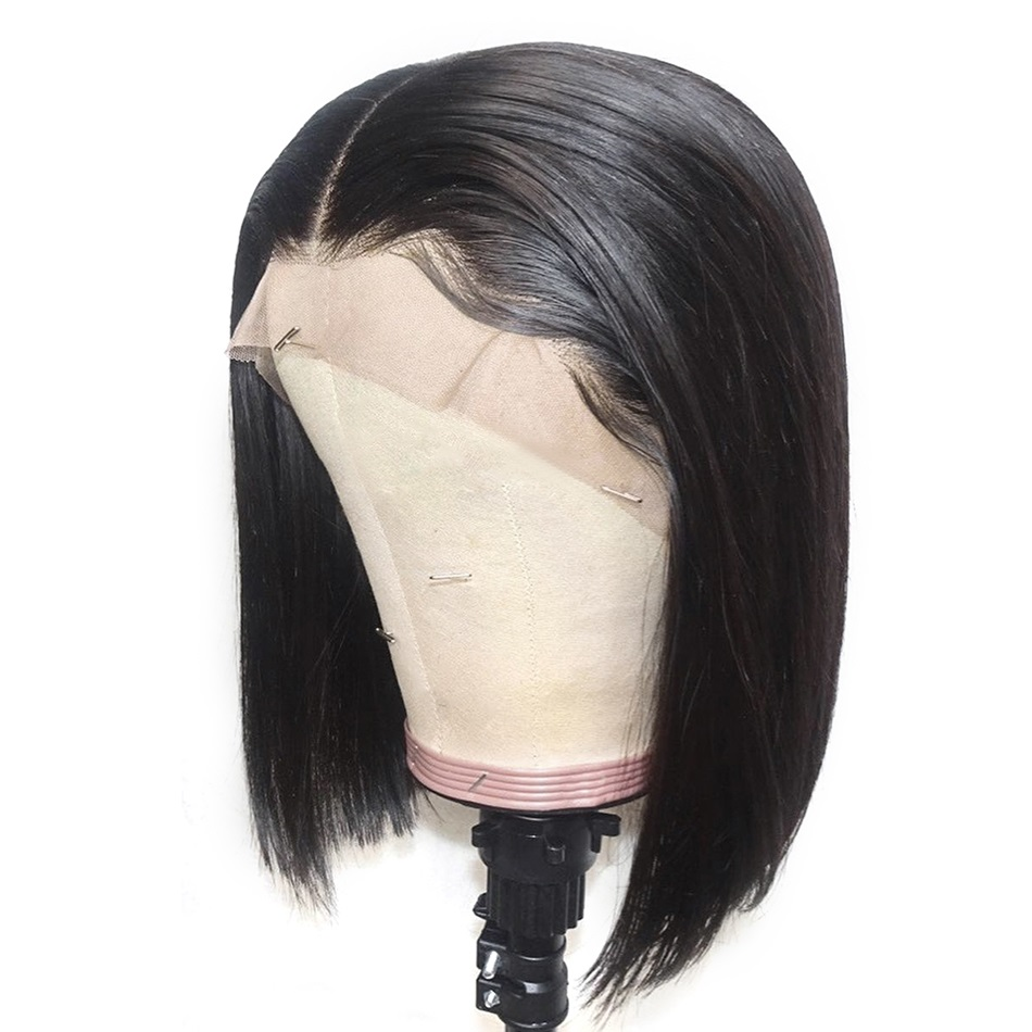 Straight Short Bob Full Lace Human Hair Wig For Women Natural Black With Baby Hair Remy Brazilian Full Lace Wigs End Pre Plucked