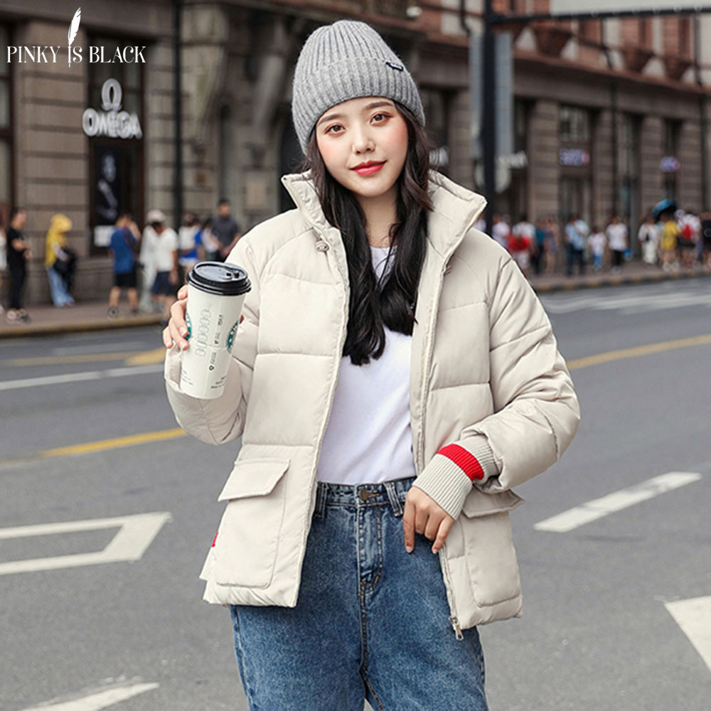 PinkyIsBlack 2019 Winter Jacket Women Thick Winter Coat Clothing Female Short   Parkas   Stand Collar Down Cotton Jacket With Gloves