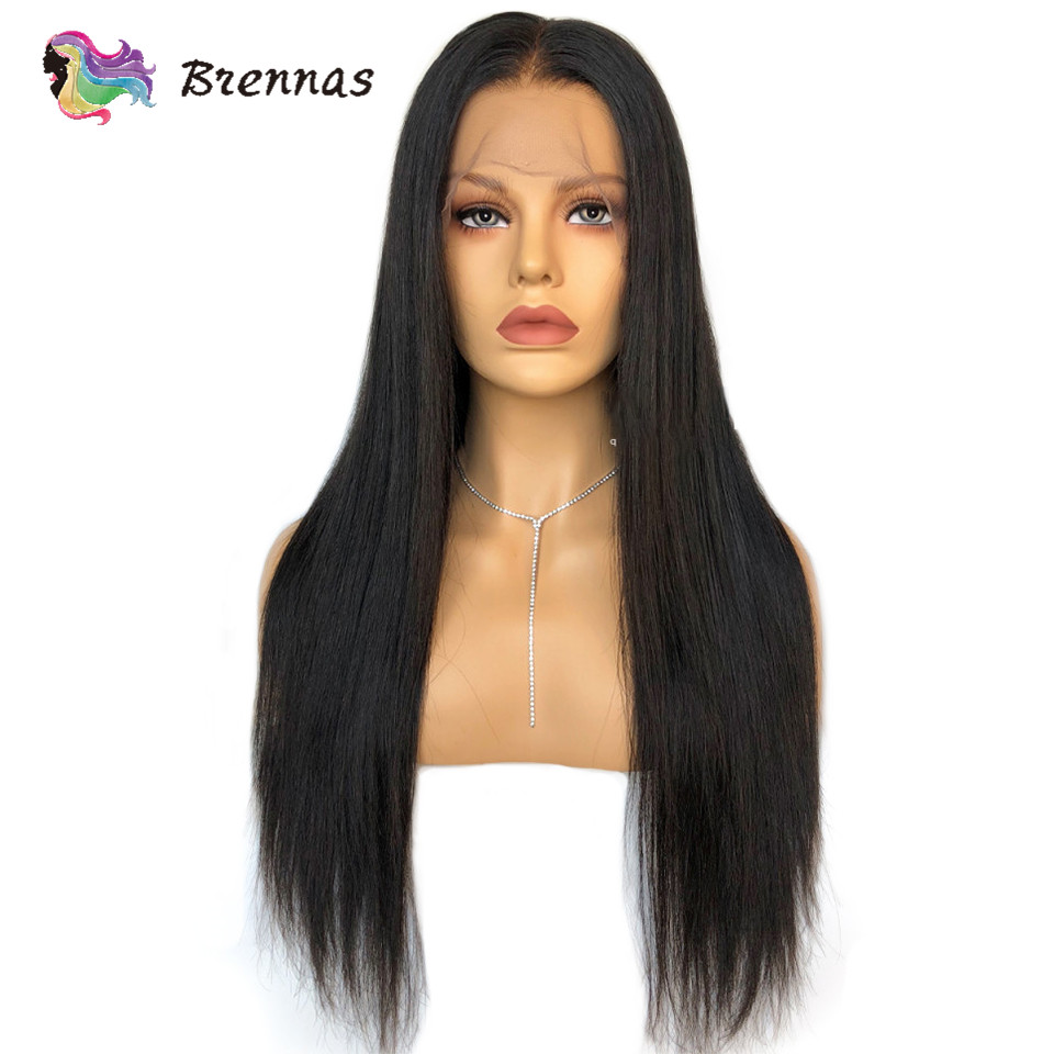 Long Straight Lace Wigs With Baby Hair 13X4 Lace Front Wigs Brazilian Human Hair Lace Wig Natural Black Color Non Remy 8''-26''