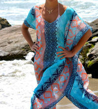 Strand Jurk Kaftan Pareo Sarongs Sexy Cover-Up Chiffon Bikini Badmode Tuniek Badpak Badpak Cover Ups Robe De plage # Q8(China)