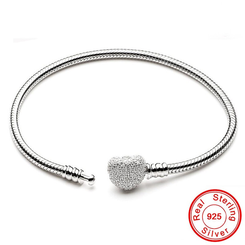 90% OFF Fine 925 Sterling Silver Snake Chain Bracelet Secure Heart Clasp Beads Charms Bracelet For Women Gemstone DIY Jewelry