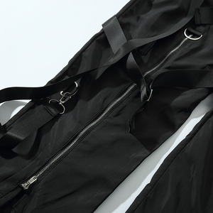 Image 5 - Calças de carga de hip hop streetwear 2019 harajuku calças com zíper traseiro fivela fita hiphop corredores harem calças bolsos outono preto
