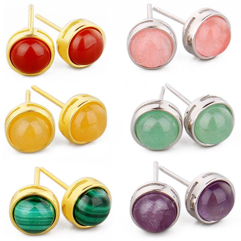 925 כסף טבעי אבן Stud עגיל ורוד קוורץ טייגר העין קריסטל מונסטון טופז תכשיטים לנשים אוזן עגיל