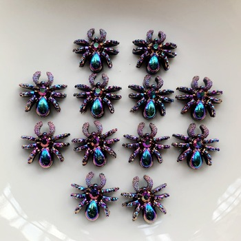 30pcs resin spider DIY decoration AB/ White Rhinestone spider armour jewellery for earring decoration image