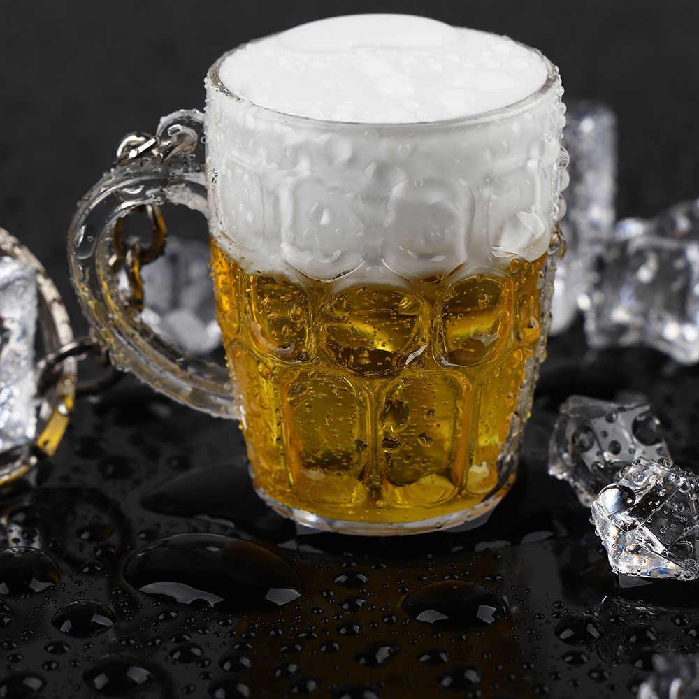 Resina Copos de Cerveja Chaveiro Carro Chaveiro Chaveiro Para Homens Mulher Pingente Jóias Comida Simulação Artesanato Acessórios Do Carro
