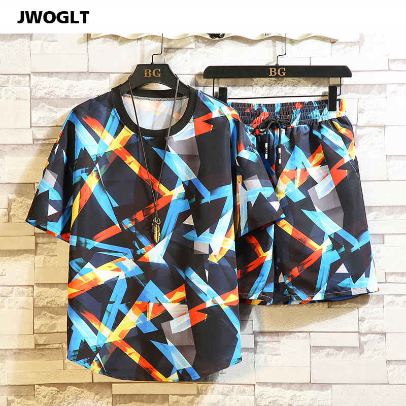 29 Styles 2 Pieces Set Summer Featured Printing Tracksuit Casual Male Beach Men Shorts + T Shirt Plus Size 4XL 5XL