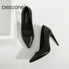 BESCONE High Quality Lady Pumps Black Genuine Leather Super High Thin Heels Party Pumps Sexy Pointed Toe Slip-on Woman Shoes A50 stylesowner 2018 new arrival soft genuine leather women pumps sexy buckle strap pointed toe super high thin heels party shoes