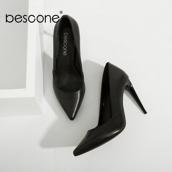BESCONE High Quality Lady Pumps Black Genuine Leather Super High Thin Heels Party Pumps Sexy Pointed Toe Slip-on Woman Shoes A50 venchale shallow slip on convenient 2018 new arrival high heels pointed toe woman plus size shoes genuine leather woman pumps