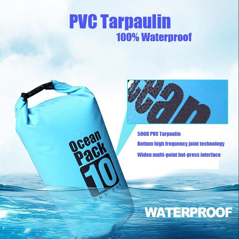 Top SalePVC 5L 10L 20L Outdoor Diving Compression Storage Waterproof Bag Dry Bag For Man Women Swimming Rafting Kayak