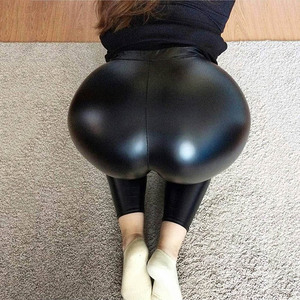 Image 2 - NORMOV siyah yaz PU deri pantolon kadınlar yüksek bel Skinny Push Up tayt seksi elastik pantolon streç artı boyutu pantolon