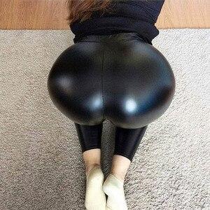 Image 2 - NORMOV שחור קיץ עור מפוצל מכנסיים נשים גבוהה מותן סקיני לדחוף את חותלות סקסי אלסטי מכנסיים למתוח בתוספת גודל מכנסיים