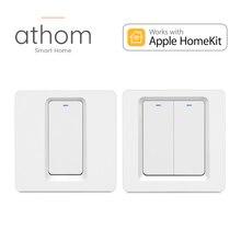 Athom homekit ue wi fi interruptor inteligente imprensa chave 1/2/3 gang siri controle de voz neutro necessário