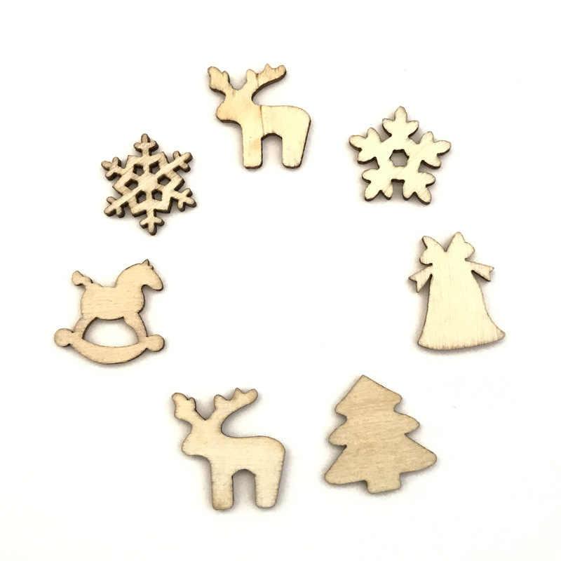 100 Chiếc Bằng Gỗ Đồ Dùng Trang Trí Giáng Sinh Cây Mini Đồ Trang Trí Ông Già Noel Người Tuyết Hươu Xmas Cho Tiệc Cho Gia Đình Năm Mới