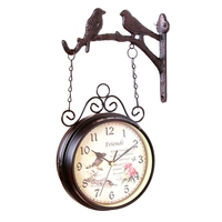 Fashion European Style Double Sided Wall Clock Creative Classic Clock Monochrome Home Decoration Two Side Bird Iron Quartz Antiq