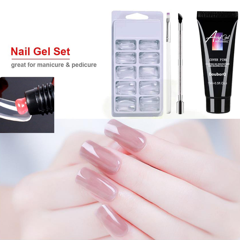 4 Pçs/set Extensão Unhas de Gel Kit Quick Extension Builder UV LED Unha Polonês Final Double Pusher Unhas Nail Salon Ferramenta